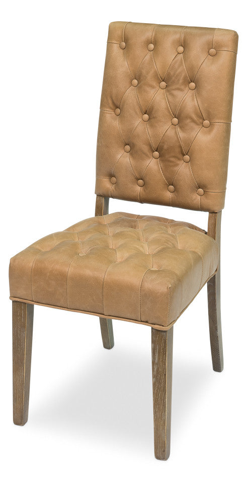 Leather Side Chair, Tan