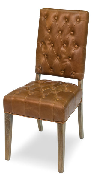 Brady Leather Side Chair, Light Chocolate