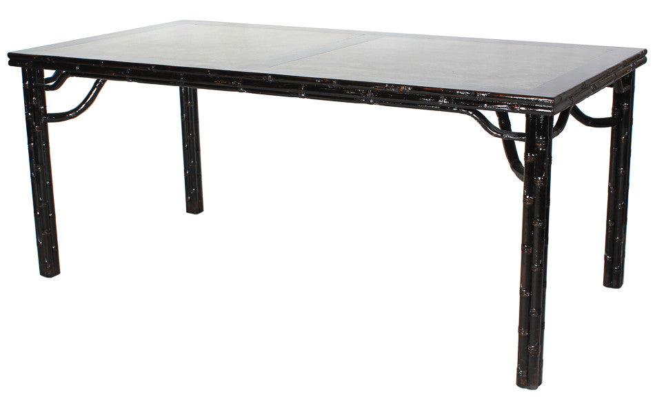Classic Chinese Dining Table, Reclaimed Elm, Black