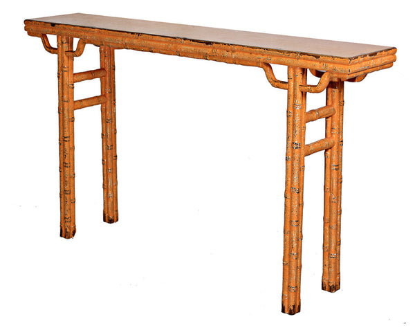 Classic Chinese Console Table, Reclaimed Elm, Orange