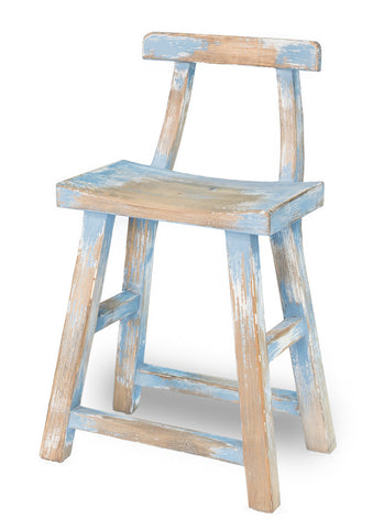 Farmers Stool with Back, Blue & White