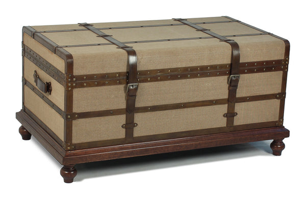 Laramie Trunk Coffee Table, Brown Leather