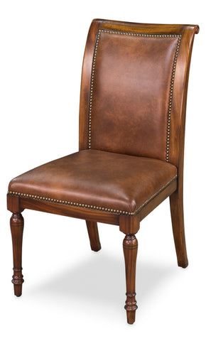 Jupe Side Chair, Walnut with Brown Leather