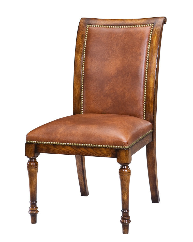 Jupe Side Chair, Aged Oak with Brown Leather