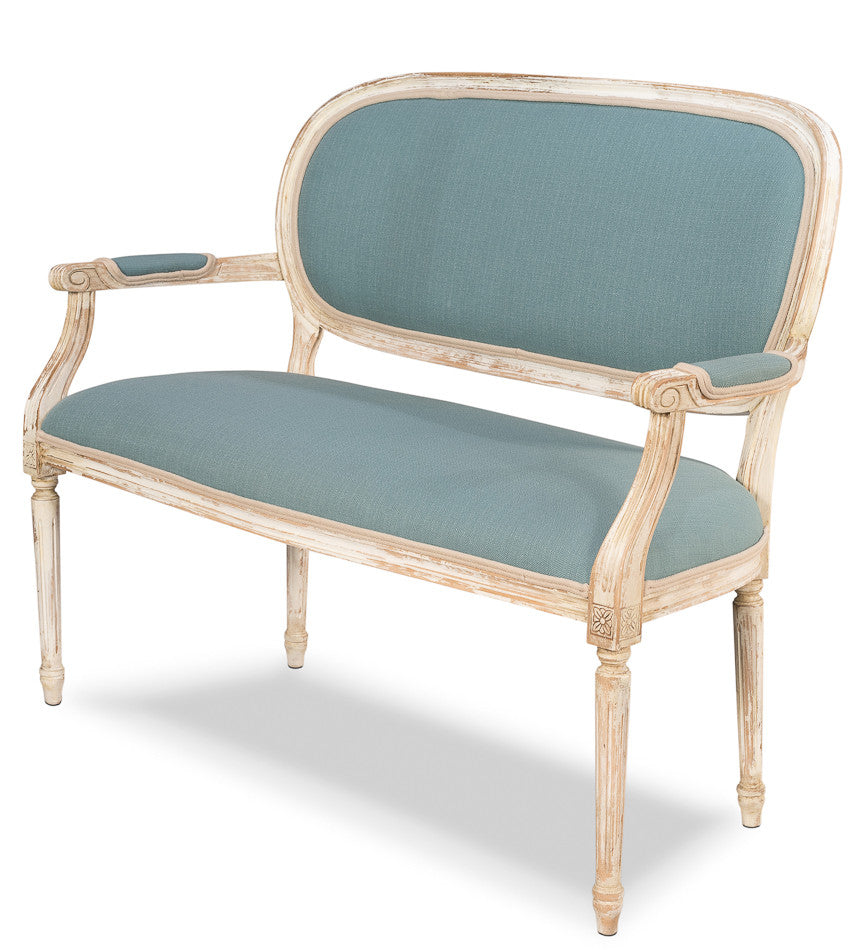 Brigette Settee, Distressed White Finish
