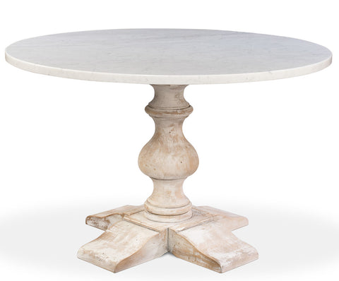 Aldo Round Dining Table, Marble Top with White Wash Base