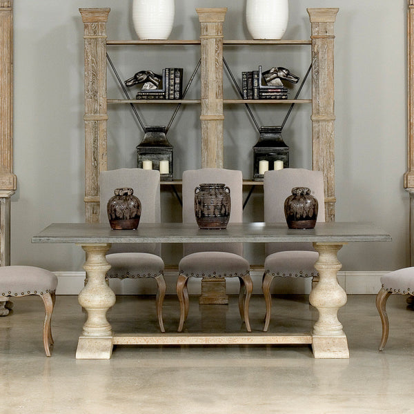 Lionisio Trestle Table, Beige, Gray Stone