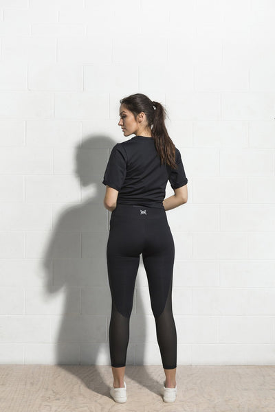 Mesh Panel Pocket Legging | Black | Inexhale Active