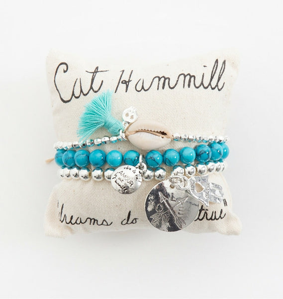 Aqua and silver bracelet pillow stack - Cat Hammill