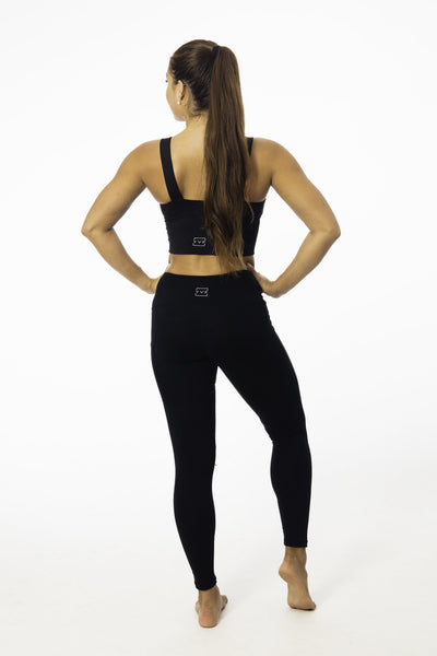Long Black High-Waisted Pocket Leggings