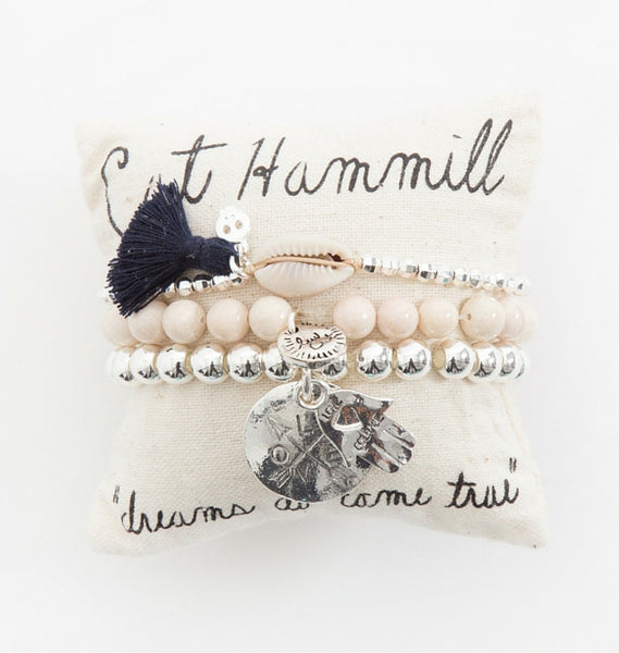 Natural and silver bracelet pillow stack - Cat Hammill