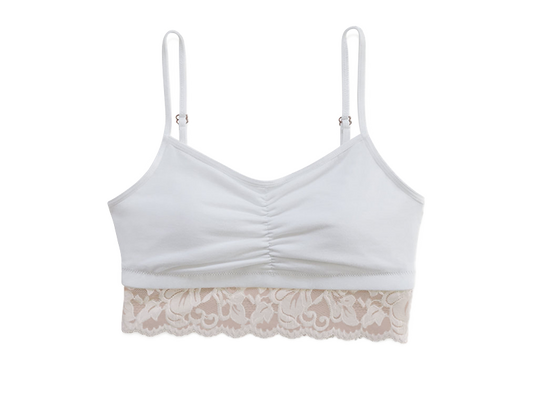 Astrid jersey bralette with lace champagne white