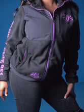 Load image into Gallery viewer, Black and Purple Fleece Coat - Secure Cultures