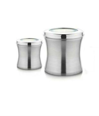 Stainless Steel Jumbo Size Belly Shaped Canisters, Canisters 4 Lb and 2 Lb - QUALWAYS LLC