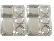 Rectangular Tray- Divided Stainless Steel Tray Set of 2 - QUALWAYS LLC