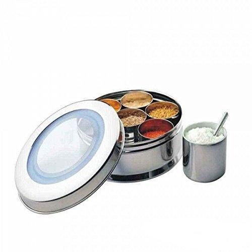 Stainless Steel Spice box 7 compartments with See-Through Lid - QUALWAYS LLC