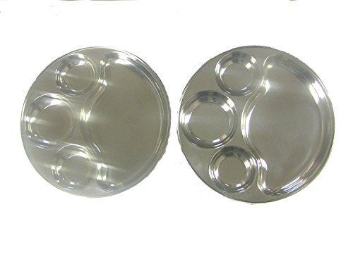 Round Tray- Divided Stainless Steel Tray Set of 2