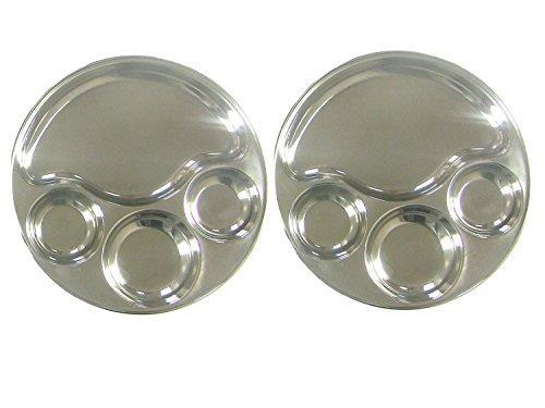 Round Tray- Divided Stainless Steel Tray Set of 2 - QUALWAYS LLC