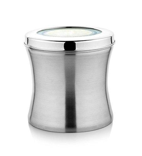 Stainless Steel Jumbo Size Belly Shaped Canisters, Canisters 4 Lb and 2 Lb