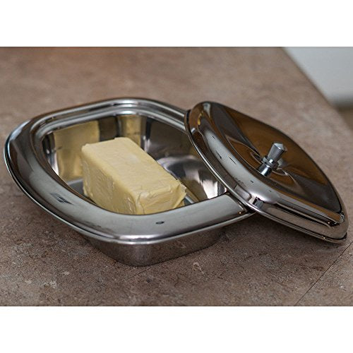 Qualways Stainless Steel Butter Dish With Lid
