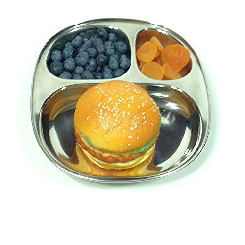 Kids's Tray - 9.5 X 8.5 inch Divided Stainless Steel Plate - QUALWAYS LLC