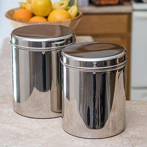 Jumbo Stainless Steel Kitchen Canister Set of 2 (Small) - QUALWAYS LLC