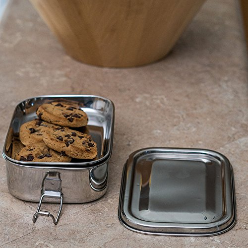 Qualways Stainless Steel Food Container with Tray, Stainless Steel Kids and adult lunch box, Children's lunch box, Stainless Steel Bento Box with Tray