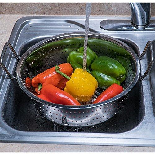 Stainless Steel Jumbo Size Vegetable Colander, - QUALWAYS LLC