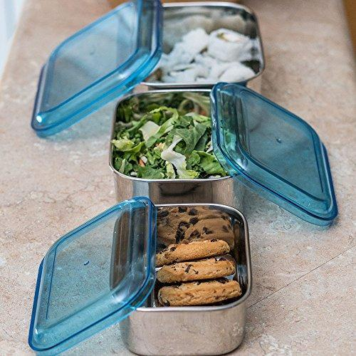 Stainless Steel Rectangular Shaped Storage Bowl Set of 3 - QUALWAYS LLC