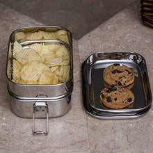 Stainless Steel 2- Tier Rectangle Lunch Box - QUALWAYS LLC