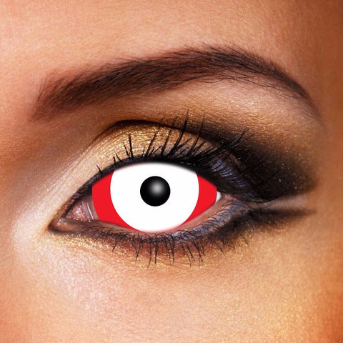 ZOMBIE RED&WHITE SCLERA 22MM CONTACT LENSES (SALE)