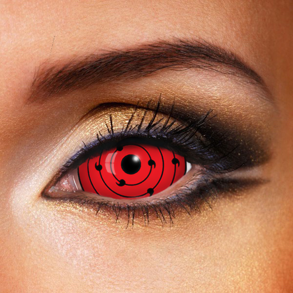 RINNE SHARINGAN TEN TAILS RED SCLERA 22MM CONTACT LENSES