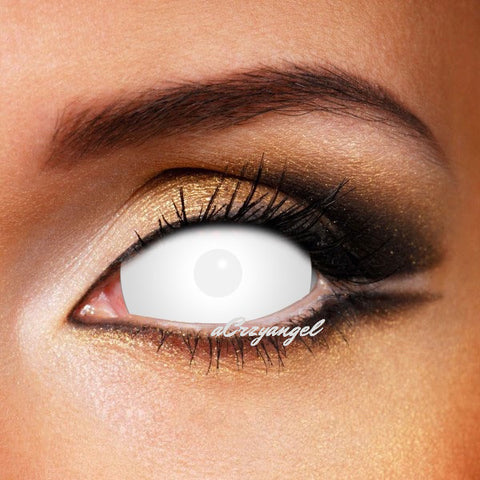 WHITE BLIND SCLERA CRAZY CONTACT LENSES 22MM
