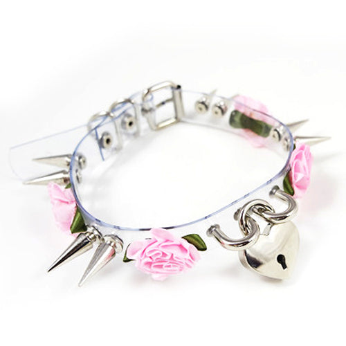 Spiked Flower Heart Key Choker - SnackBarShop