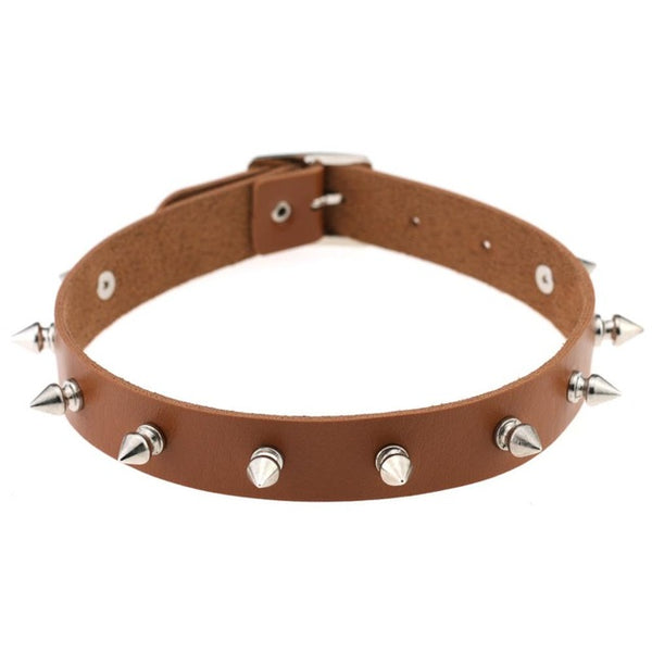 Leather Spike Choker - SnackBarShop