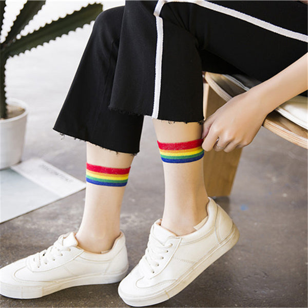 Rainbow Transparent Socks - SnackBarShop