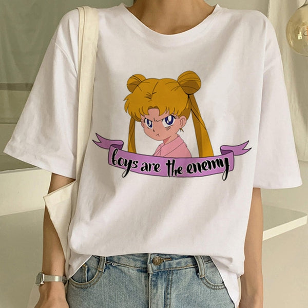 Sailor Moon Boys Are The Enemy Tee - SnackBarShop