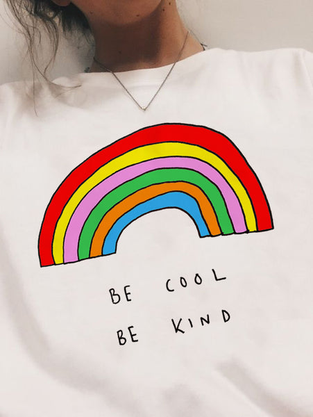 Be Cool Be Kind Rainbow Tee - SnackBarShop