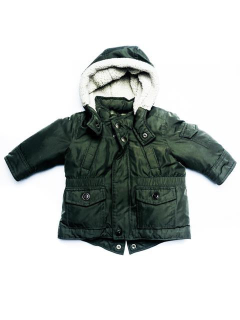 Gap army green hooded coat  0-6m