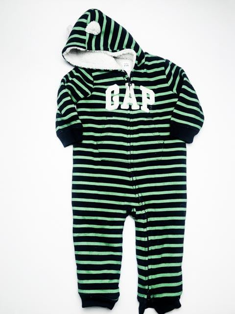 Gap green & blue stripe sherpa lined romper 18-24m