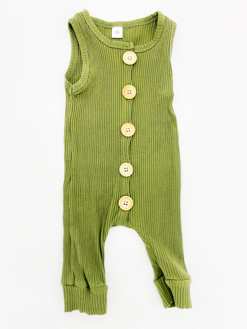 Millie's Little Closet olive green ribbed romper 6m