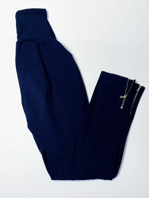 Rachel Zoe stretch maternity pants with exposed zippers -navy- medium
