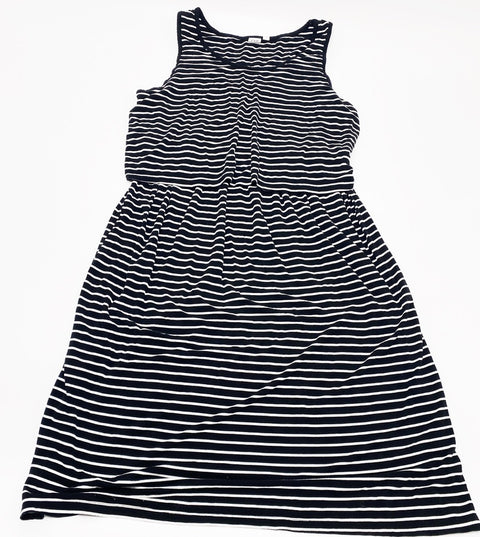 Gap Maternity black & white stripe nursing dress - large
