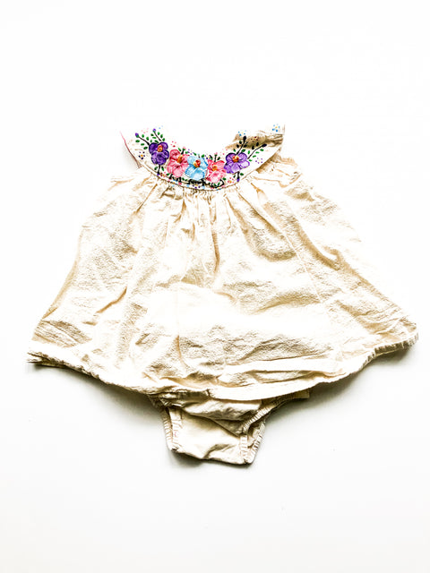 Embroidered dress with bloomers 6-12m (small shop/handmade)