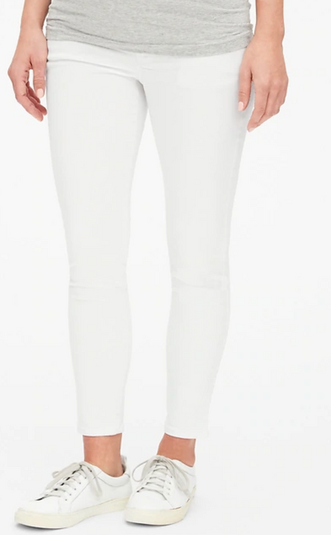 Gap Maternity true skinny crop white jeans (over the belly) - size 12