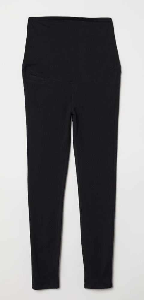 H&M Mama black leggings cropped (over the belly) - large