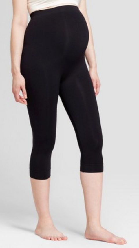 BeMaternity seamless black leggings (over the belly) - medium/large