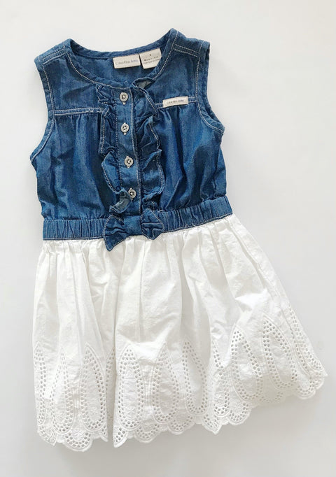 Calvin Klein denim & eyelet dress size 4-Fresh Kids Inc.