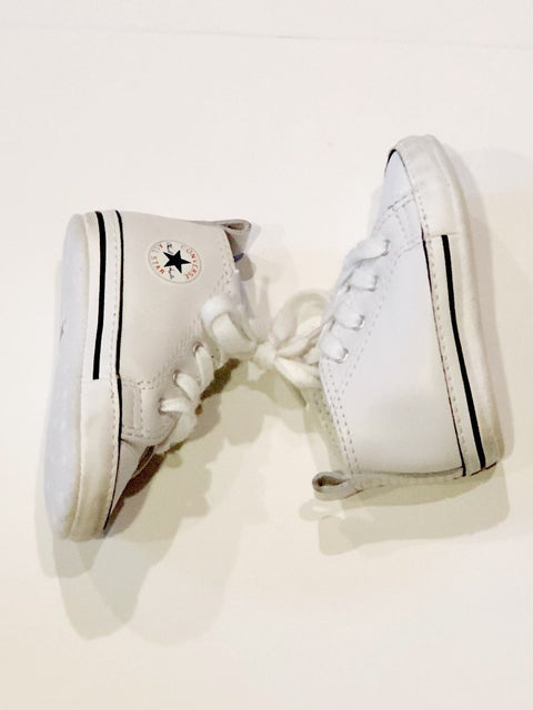 Converse high tops white faux leather soft sole - size 3