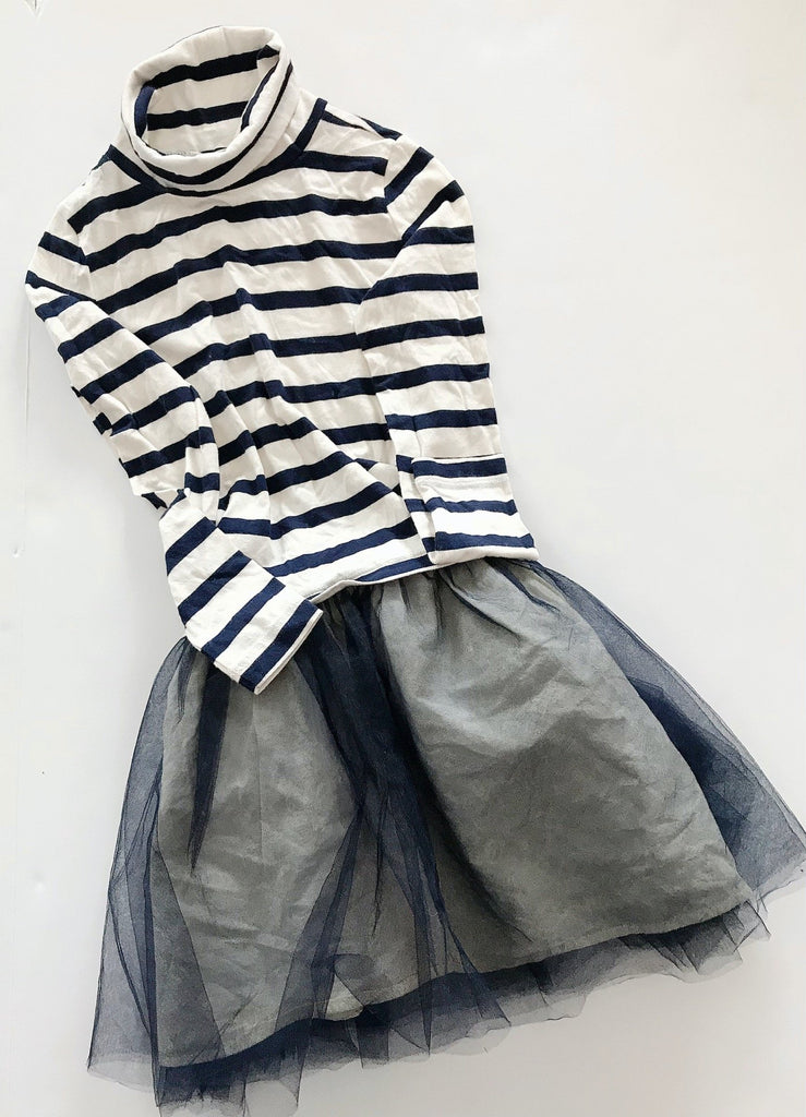 Crewcuts dress navy & white stripe size 8-Fresh Kids Inc.